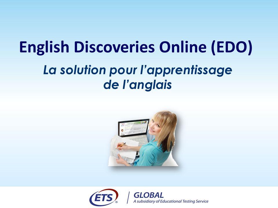 La solution pour lapprentissage de langlais English Discoveries Online (EDO)