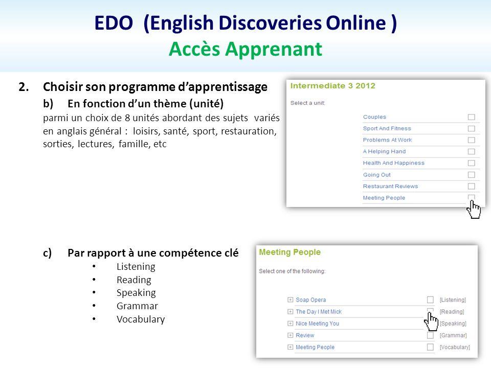EDO (English Discoveries Online ) Accès Apprenant 2.Choisir son programme dapprentissage b)En fonction dun thème (unité) parmi un choix de 8 unités ab