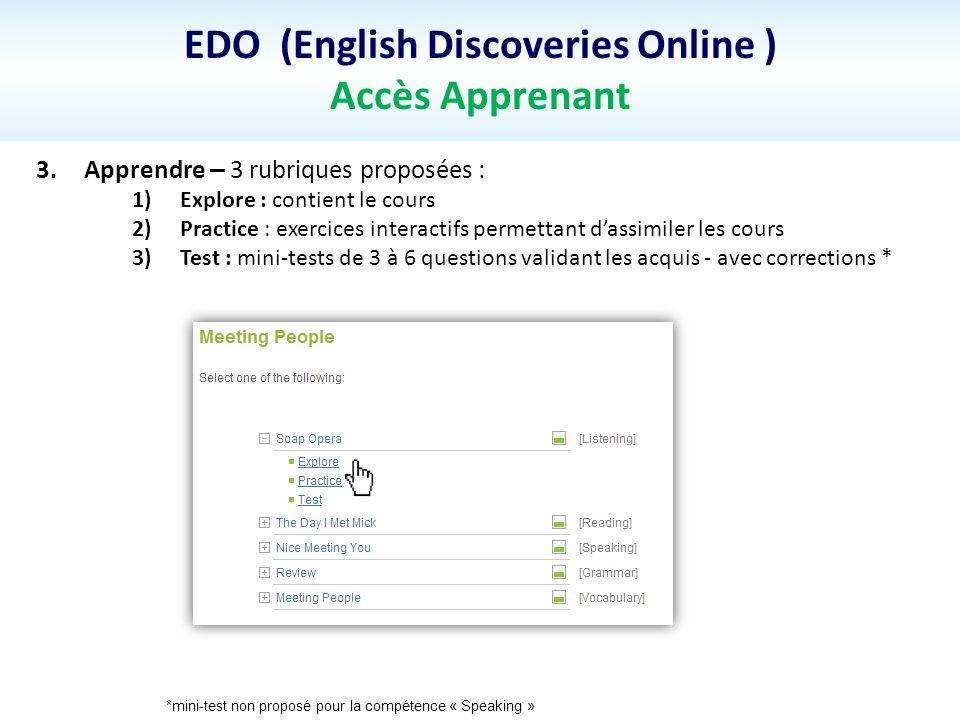 EDO (English Discoveries Online ) Accès Apprenant 3.Apprendre – 3 rubriques proposées : 1)Explore : contient le cours 2)Practice : exercices interacti