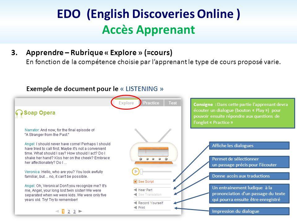 EDO (English Discoveries Online ) Accès Apprenant 3.Apprendre – Rubrique « Explore » (=cours) En fonction de la compétence choisie par lapprenant le t
