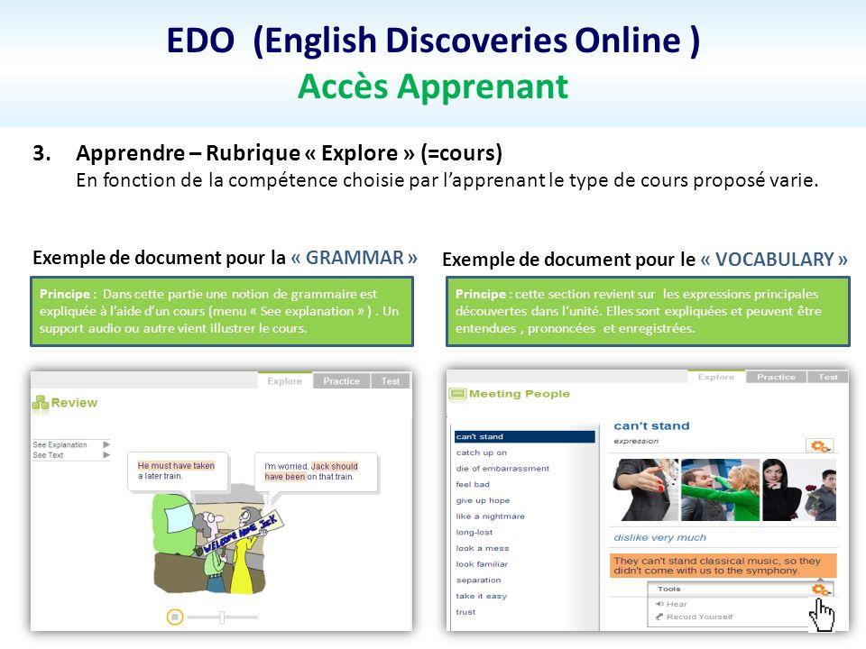 EDO (English Discoveries Online ) Accès Apprenant 3.Apprendre – Rubrique « Explore » (=cours) En fonction de la compétence choisie par lapprenant le type de cours proposé varie.