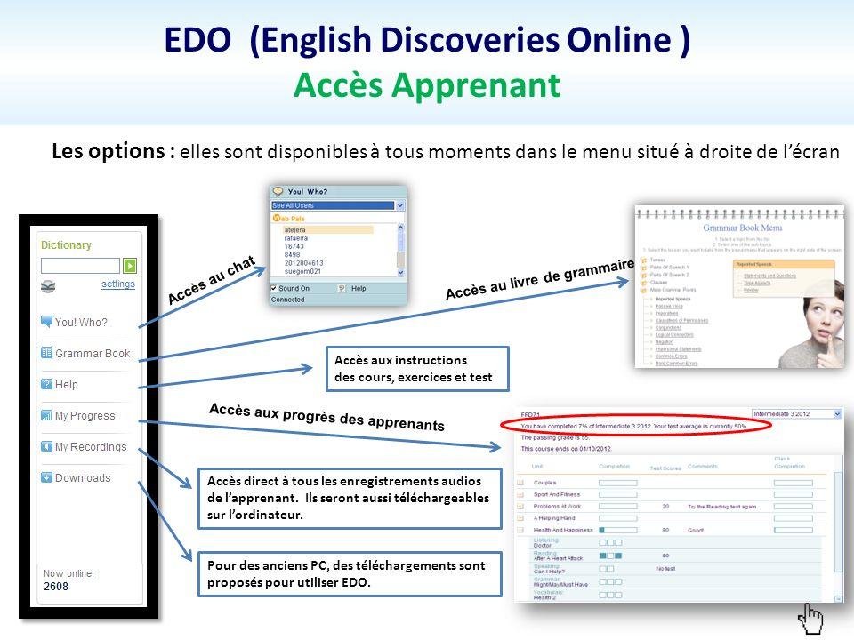 EDO (English Discoveries Online ) Accès Apprenant Les options : elles sont disponibles à tous moments dans le menu situé à droite de lécran Accès au c