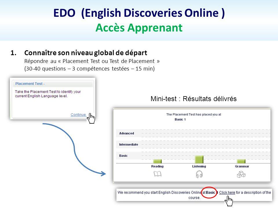 EDO (English Discoveries Online ) Accès Apprenant 1.Connaître son niveau global de départ Répondre au « Placement Test ou Test de Placement » (30-40 questions – 3 compétences testées – 15 min) Mini-test : Résultats délivrés