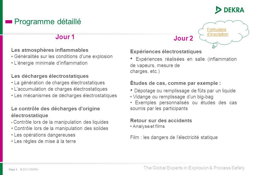 The Global Experts in Explosion & Process Safety Programme détaillé Page 4 © 2014 DEKRA Jour 1 Les atmosphères inflammables Généralités sur les condit