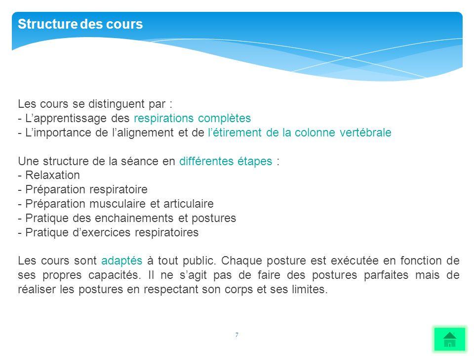 7 Structure des cours Les cours se distinguent par : - Lapprentissage des respirations complètes - Limportance de lalignement et de létirement de la c