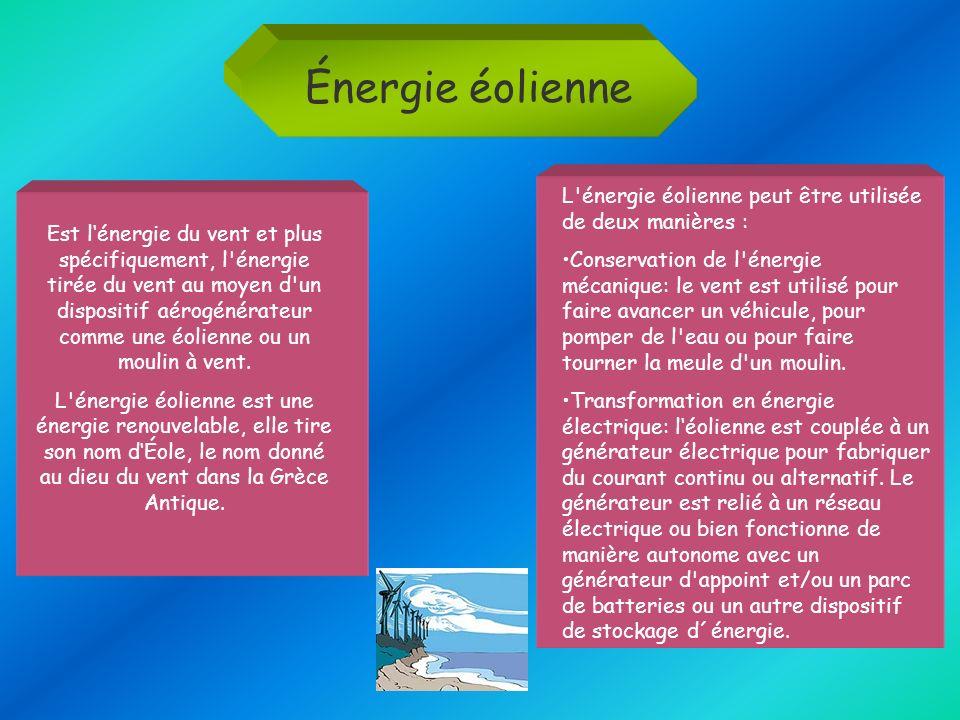 Énergie éolienne Est lénergie du vent et plus spécifiquement, l'énergie tirée du vent au moyen d'un dispositif aérogénérateur comme une éolienne ou un