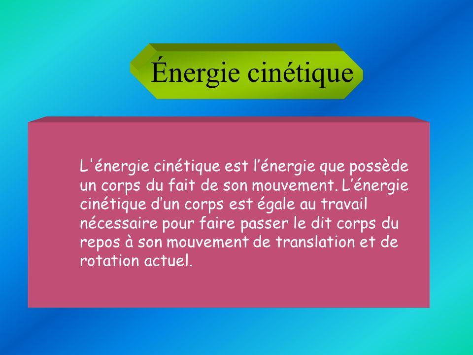 Énergie cinétique L'énergie cinétique est lénergie que possède un corps du fait de son mouvement. Lénergie cinétique dun corps est égale au travail né
