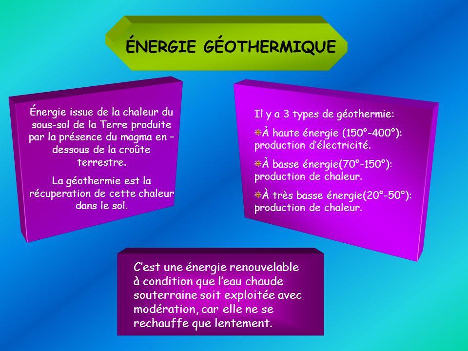 ÉNERGIE GÉOTHERMIQUE Énergie issue de la chaleur du sous-sol de la Terre produite par la présence du magma en – dessous de la croûte terrestre. La géo