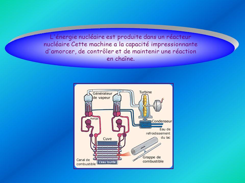 L'énergie nucléaire est produite dans un réacteur nucléaire Cette machine a la capacité impressionnante d'amorcer, de contrôler et de maintenir une ré