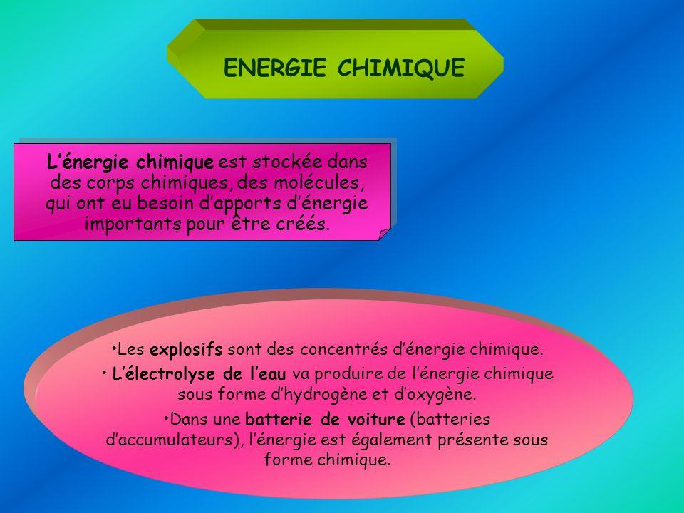 ENERGIE CHIMIQUE Lénergie chimique est stockée dans des corps chimiques, des molécules, qui ont eu besoin dapports dénergie importants pour être créés