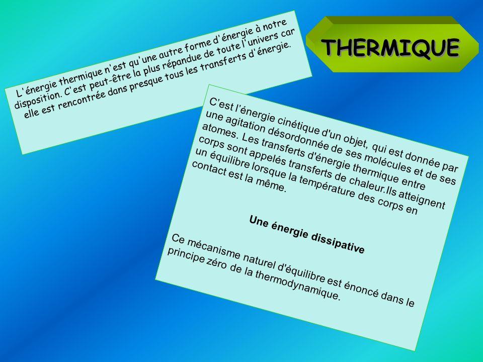 THERMIQUE L'énergie thermique n'est qu'une autre forme d'énergie à notre disposition. C'est peut-être la plus répandue de toute l'univers car elle est