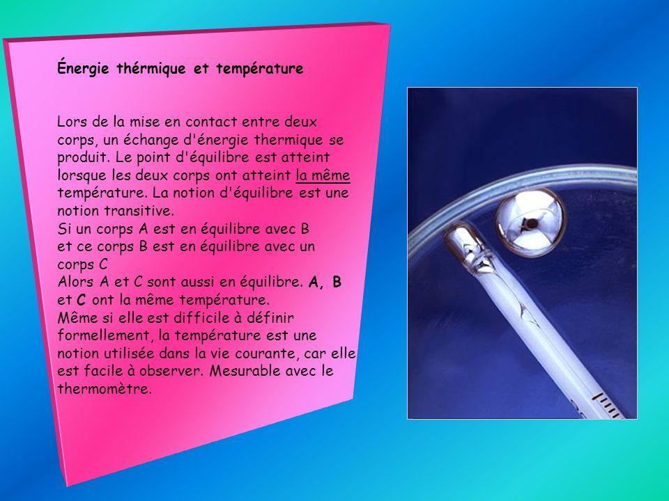 Énergie thérmique et température Lors de la mise en contact entre deux corps, un échange d'énergie thermique se produit. Le point d'équilibre est atte