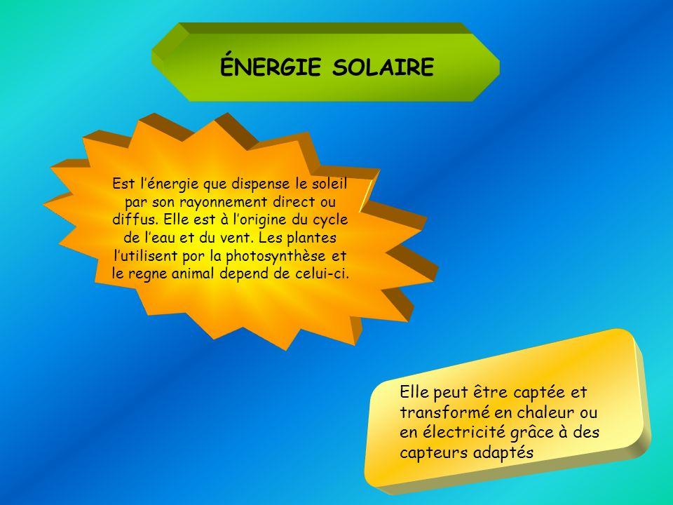 ÉNERGIE SOLAIRE Est lénergie que dispense le soleil par son rayonnement direct ou diffus. Elle est à lorigine du cycle de leau et du vent. Les plantes
