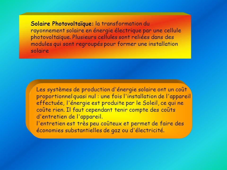 Solaire Photovoltaïque: la transformation du rayonnement solaire en énergie électrique par une cellule photovoltaïque. Plusieurs cellules sont reliées