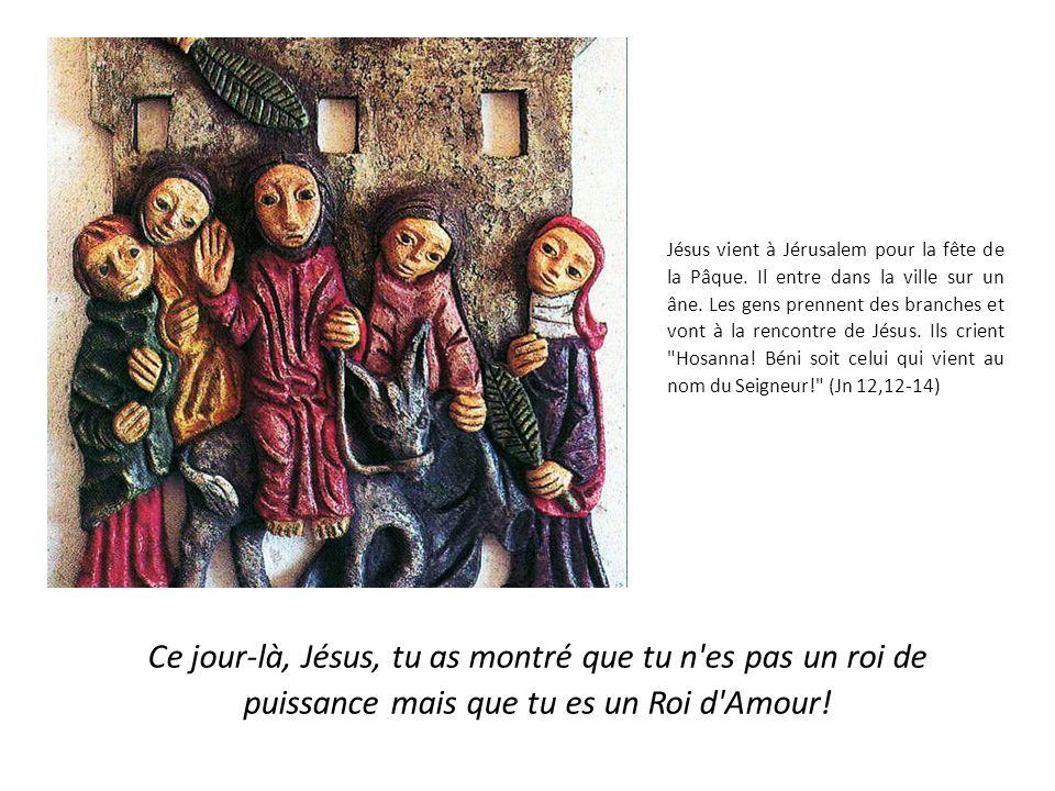 Jésus vient à Jérusalem pour la fête de la Pâque.Il entre dans la ville sur un âne.