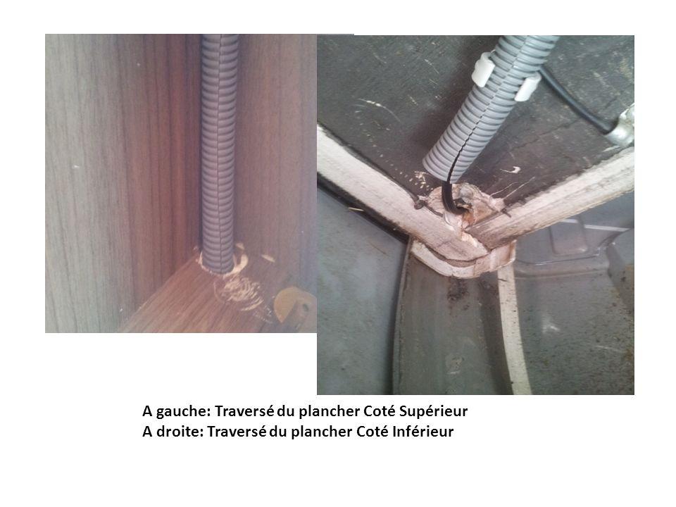 Passage des câbles dans une gaine maintenue par des colliers vissés coté droit du Camping Car