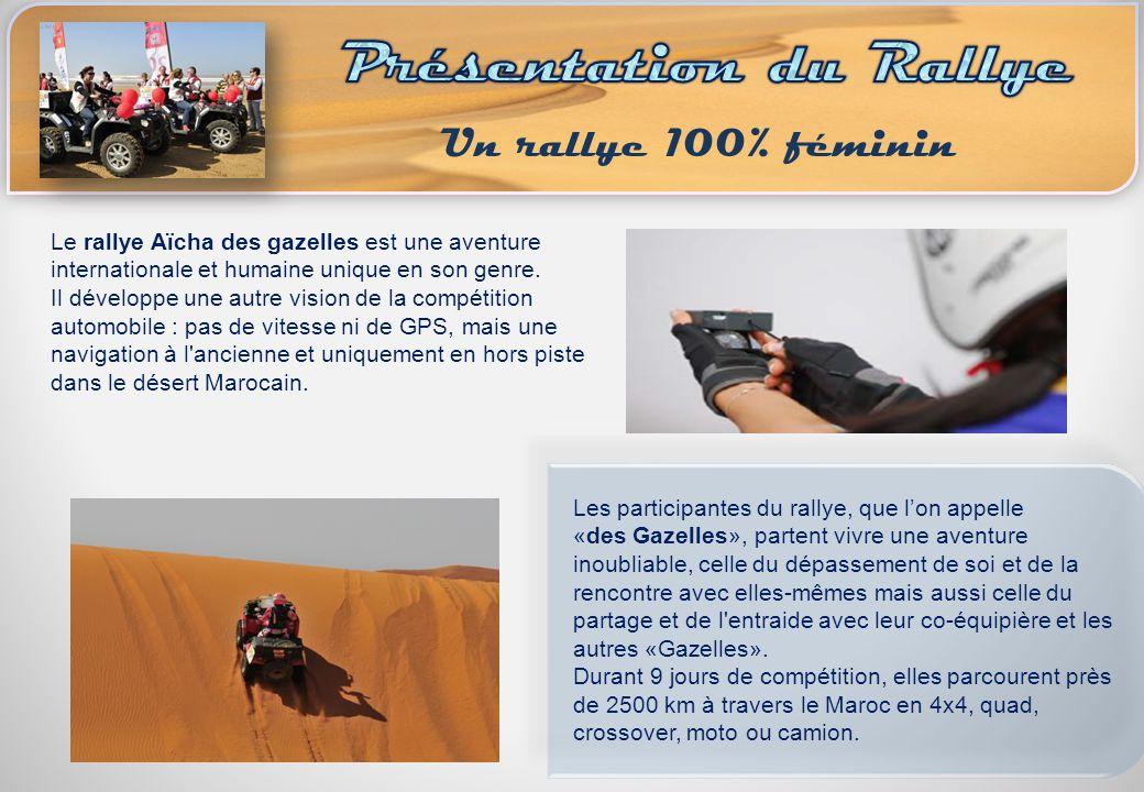 Le rallye Aïcha des gazelles est une aventure internationale et humaine unique en son genre. Il développe une autre vision de la compétition automobil