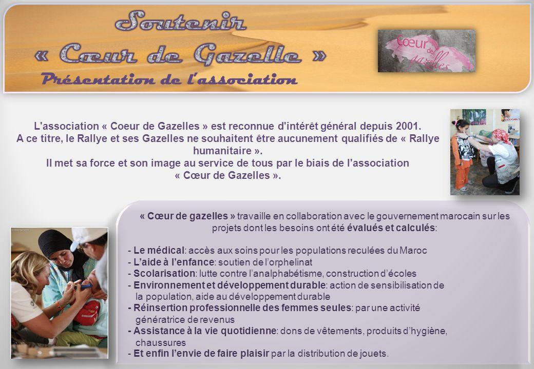 L'association « Coeur de Gazelles » est reconnue d'intérêt général depuis 2001. A ce titre, le Rallye et ses Gazelles ne souhaitent être aucunement qu