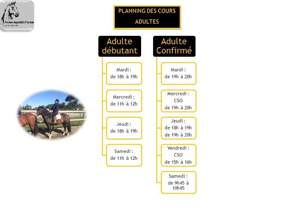 PLANNING DES COURS SPECIFIQUES PLANNING DES COURS SPECIFIQUES Compétition CSO Mardi : de 17h30 à 18h30 Vendredi : de 17h30 à 18h30 Vendredi : de 18h30 à 19h30 Pony Games Vendredi : de 18h à 19h Equifun Vendredi : De 18h30 à 19h30