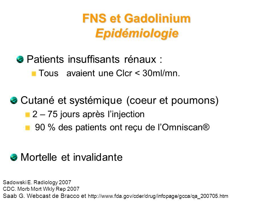 19 FNS et Gadolinium Epidémiologie Patients insuffisants rénaux : Tous avaient une Clcr < 30ml/mn. Sadowski E. Radiology 2007 CDC. Morb Mort Wkly Rep
