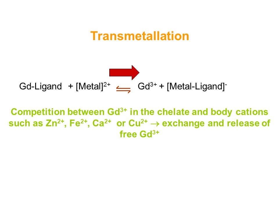 22 Transmetallation Gd-Ligand + [Metal] 2+ Gd 3+ + [Metal-Ligand] - Competition between Gd 3+ in the chelate and body cations such as Zn 2+, Fe 2+, Ca 2+ or Cu 2+ exchange and release of free Gd 3+