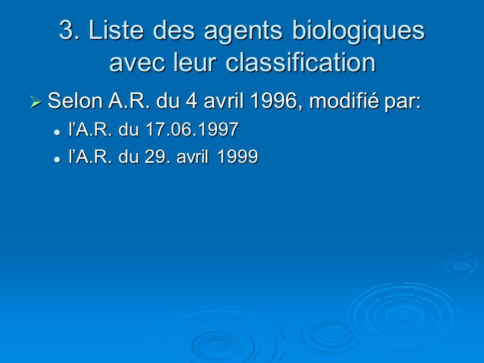 3.Liste des agents biologiques avec leur classification Selon A.R.