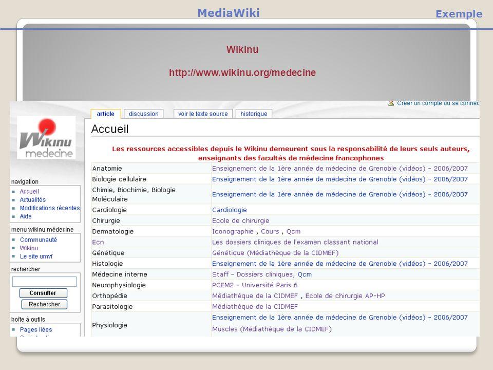 MediaWiki Exemple Wikinu http://www.wikinu.org/medecine