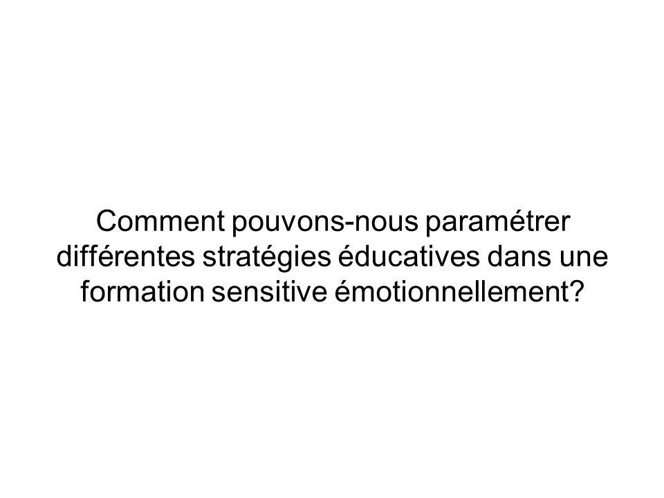 Comment pouvons-nous paramétrer différentes stratégies éducatives dans une formation sensitive émotionnellement?