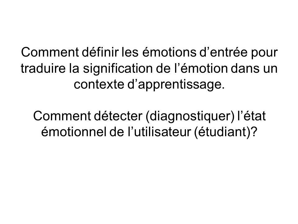 Comment définir les émotions dentrée pour traduire la signification de lémotion dans un contexte dapprentissage. Comment détecter (diagnostiquer) léta