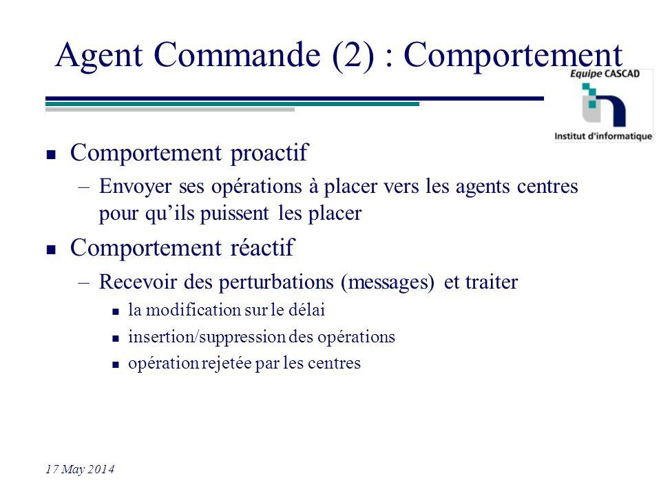 17 May 2014 Agent Commande (2) : Comportement n Comportement proactif –Envoyer ses opérations à placer vers les agents centres pour quils puissent les