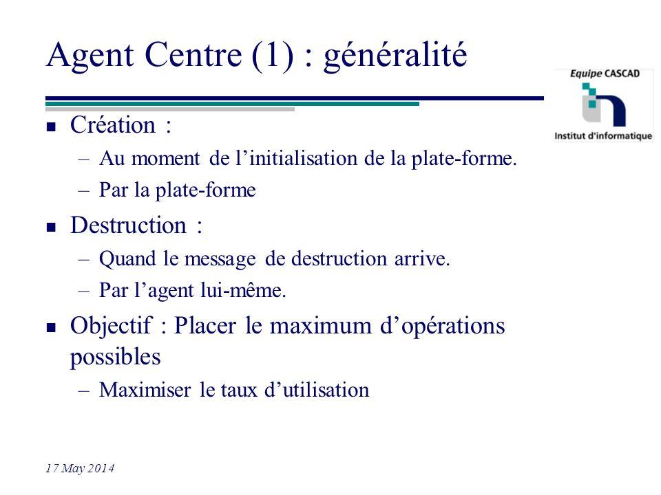 17 May 2014 Agent Centre (1) : généralité n Création : –Au moment de linitialisation de la plate-forme. –Par la plate-forme n Destruction : –Quand le