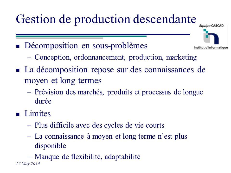 17 May 2014 Gestion de production descendante n Décomposition en sous-problèmes –Conception, ordonnancement, production, marketing n La décomposition