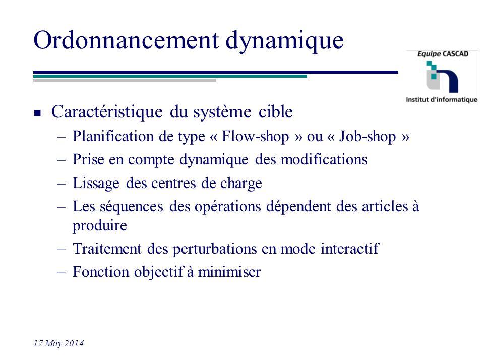 17 May 2014 Ordonnancement dynamique n Caractéristique du système cible –Planification de type « Flow-shop » ou « Job-shop » –Prise en compte dynamiqu