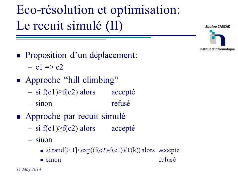 17 May 2014 Eco-résolution et optimisation: Le recuit simulé (II) n Proposition dun déplacement: –c1 => c2 n Approche hill climbing –si f(c1)f(c2) alo