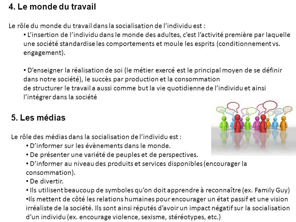 4. Le monde du travail Le rôle du monde du travail dans la socialisation de lindividu est : Linsertion de lindividu dans le monde des adultes, cest la