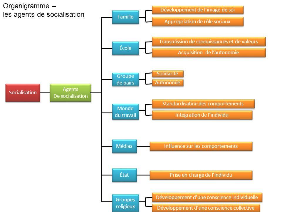 Organigramme – les agents de socialisation Socialisation Agents De socialisation Agents De socialisation Famille École Groupe de pairs Groupe de pairs