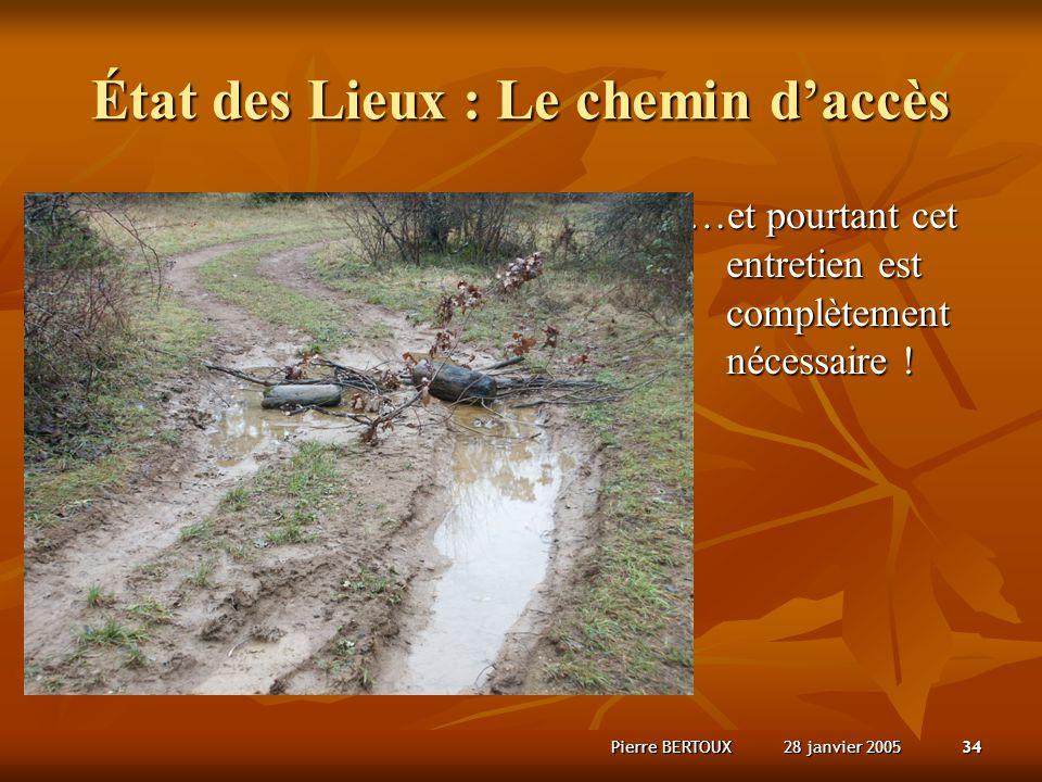 28 janvier 2005Pierre BERTOUX34 État des Lieux : Le chemin daccès …et pourtant cet entretien est complètement nécessaire !