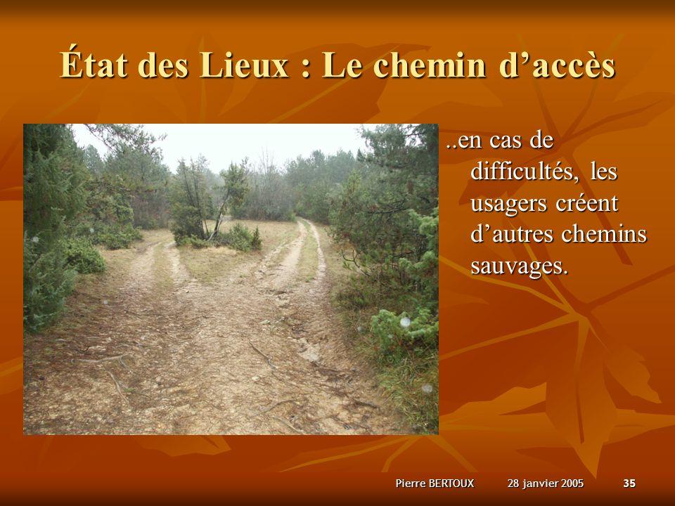 28 janvier 2005Pierre BERTOUX35 État des Lieux : Le chemin daccès..en cas de difficultés, les usagers créent dautres chemins sauvages.