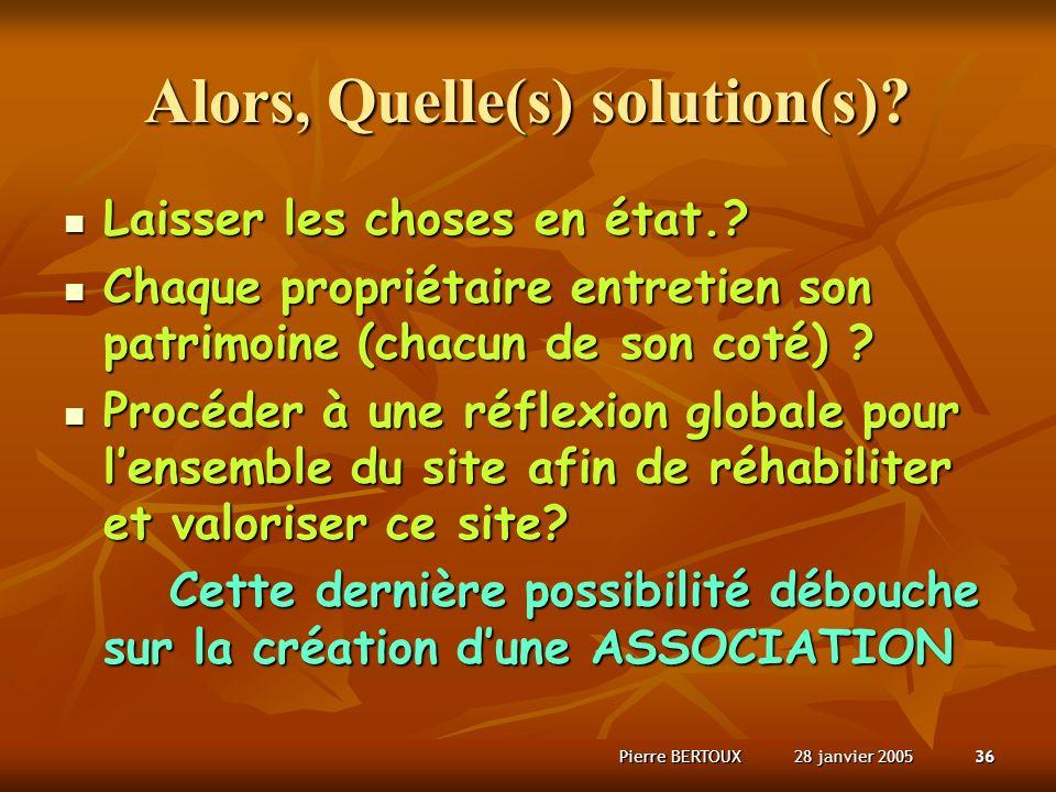 28 janvier 2005Pierre BERTOUX36 Alors, Quelle(s) solution(s).