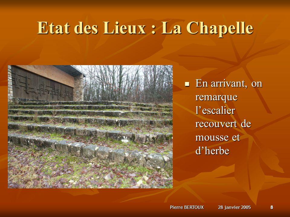 28 janvier 2005Pierre BERTOUX8 Etat des Lieux : La Chapelle En arrivant, on remarque lescalier recouvert de mousse et dherbe En arrivant, on remarque lescalier recouvert de mousse et dherbe