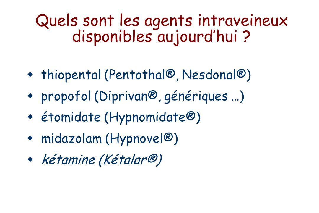 Thiopental : Propriétés physico-chimiques Apparu en 1934 Barbiturique soufré pKa 7.6 en grande partie non ionisé au pH physiologique Hydrosoluble sous forme de sels Poudre à dissoudre (eau ou NaCl mais pas Ringer lactate) Solution très alcaline (pH >10) risque de nécrose tissulaire précipitation avec les solutions acides (curares) bactériostatique Concentration recommandée : 2.5% chez l adulte, 1% chez l enfant Activation du récepteur GABA-A CH3(CH2)2CH N N S O O CH3CH2 CH3 52