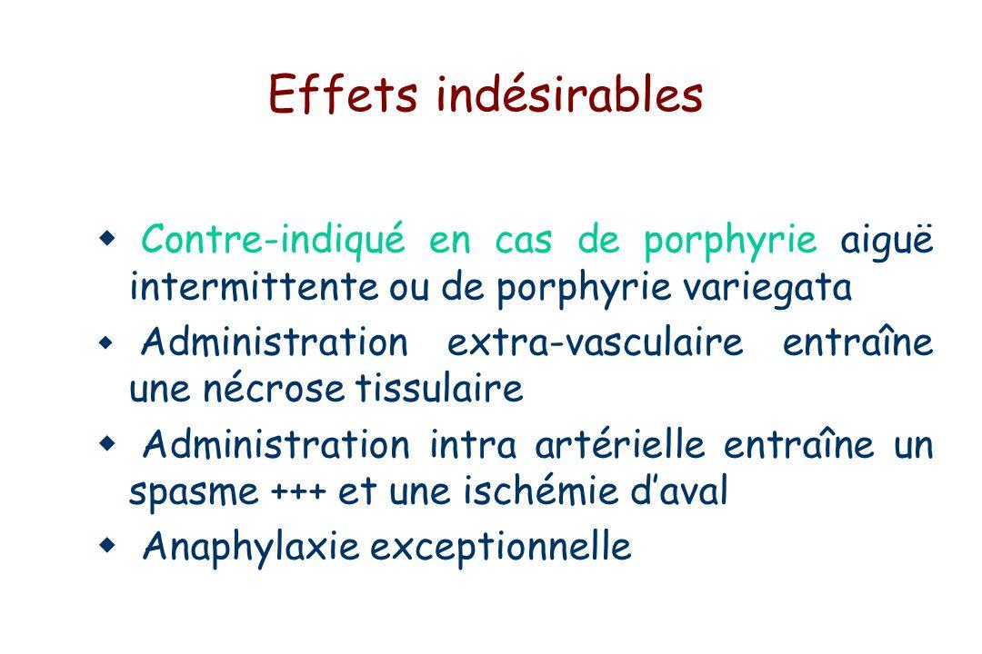 Effets indésirables Contre-indiqué en cas de porphyrie aiguë intermittente ou de porphyrie variegata Administration extra-vasculaire entraîne une nécrose tissulaire Administration intra artérielle entraîne un spasme +++ et une ischémie daval Anaphylaxie exceptionnelle