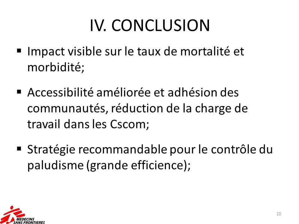 IV. CONCLUSION Impact visible sur le taux de mortalité et morbidité; Accessibilité améliorée et adhésion des communautés, réduction de la charge de tr