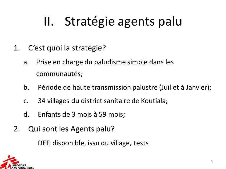 II.Stratégie agents palu 1. Cest quoi la stratégie? a.Prise en charge du paludisme simple dans les communautés; b. Période de haute transmission palus