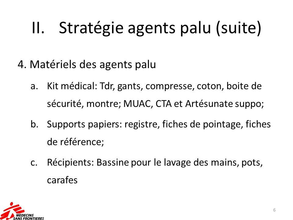 II.Stratégie agents palu (suite) 4. Matériels des agents palu a.Kit médical: Tdr, gants, compresse, coton, boite de sécurité, montre; MUAC, CTA et Art