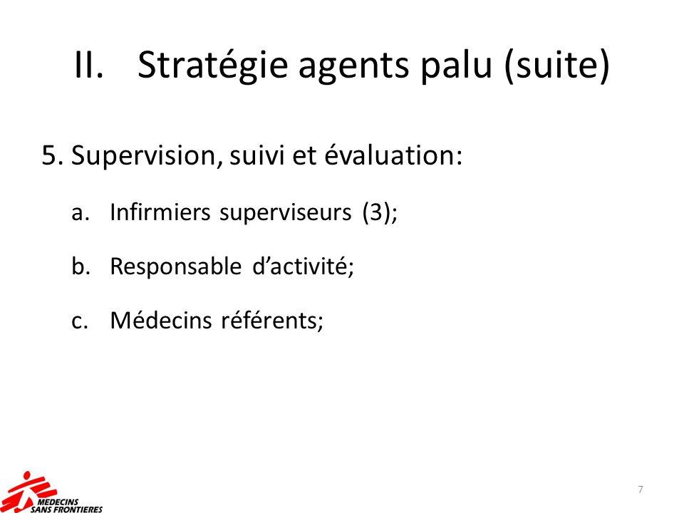 II.Stratégie agents palu (suite) 5. Supervision, suivi et évaluation: a.Infirmiers superviseurs (3); b.Responsable dactivité; c.Médecins référents; 7