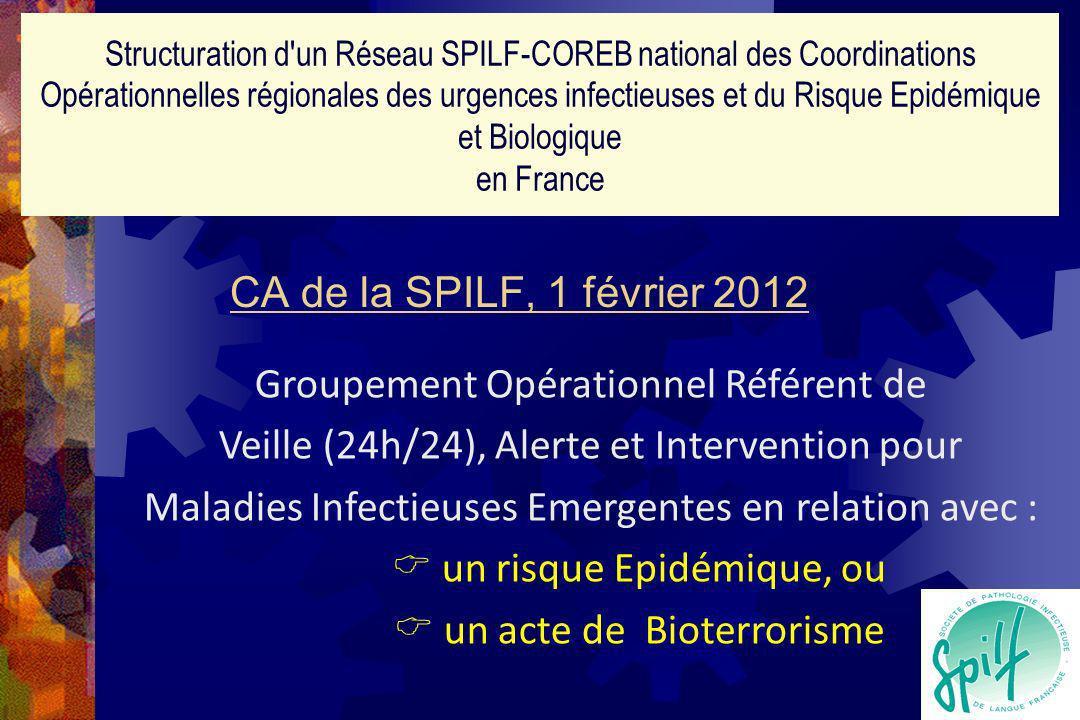 CA de la SPILF, 1 février 2012 Structuration d un Réseau SPILF-COREB national des Coordinations Opérationnelles régionales des urgences infectieuses et du Risque Epidémique et Biologique en France Groupement Opérationnel Référent de Veille (24h/24), Alerte et Intervention pour Maladies Infectieuses Emergentes en relation avec : un risque Epidémique, ou un acte de Bioterrorisme