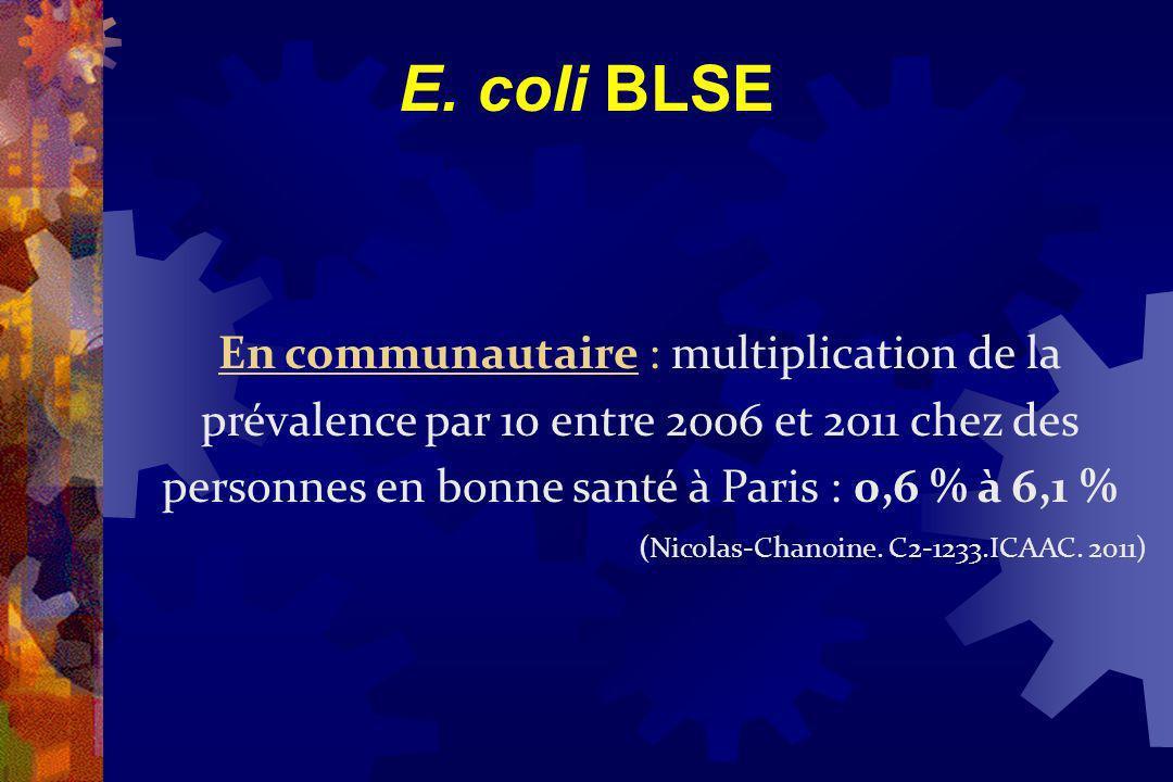 E. coli BLSE En communautaire : multiplication de la prévalence par 10 entre 2006 et 2011 chez des personnes en bonne santé à Paris : 0,6 % à 6,1 % (N