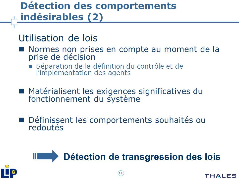 11 Détection des comportements indésirables (2) Utilisation de lois Normes non prises en compte au moment de la prise de décision Séparation de la déf