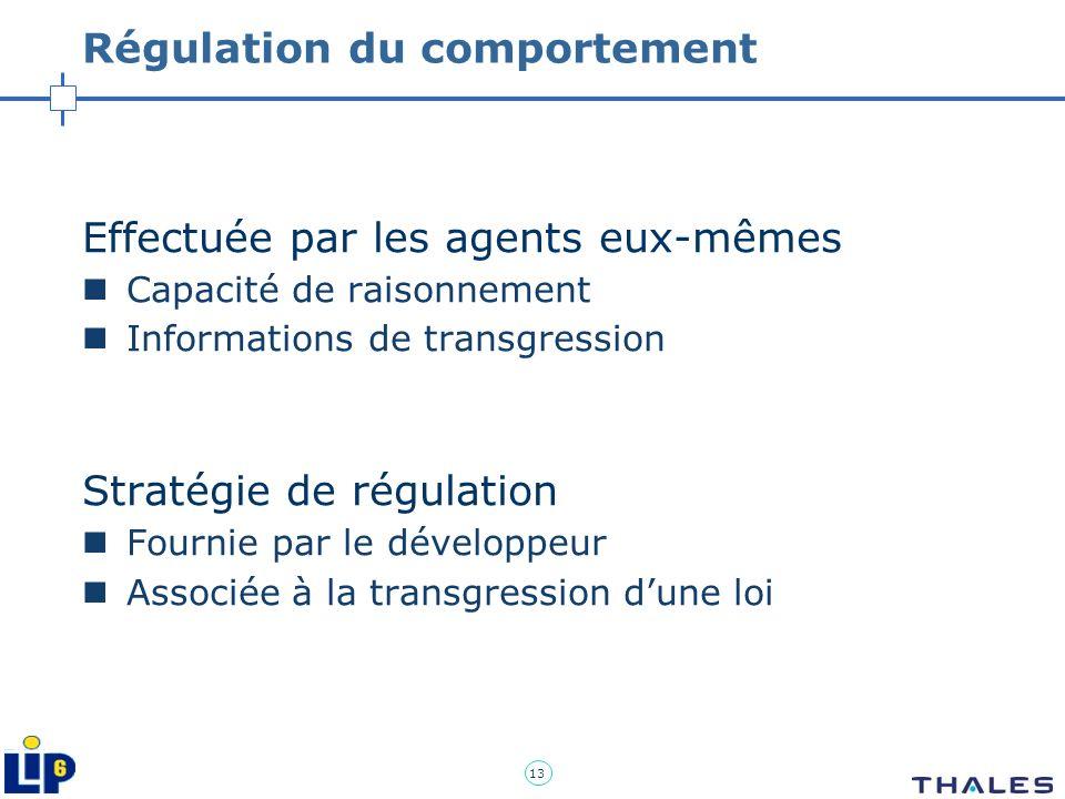 13 Régulation du comportement Effectuée par les agents eux-mêmes Capacité de raisonnement Informations de transgression Stratégie de régulation Fourni